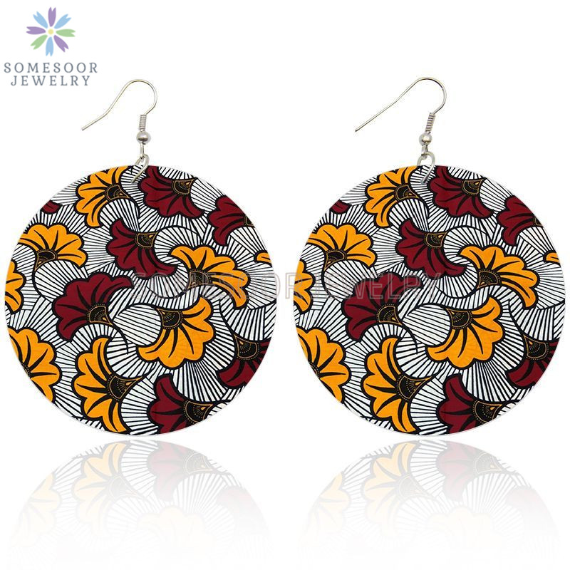 SOMESOOR Fashion Afro Headboards Fabric Print Wooden Drop Earrrings Photos African Ethnic Flower Design Jewelry For Women Gifts
