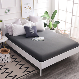 100% Cotton Fitted Sheet quality solid color Bed Sheet Four Corners With Elastic Band Mattress Cover Twin Full Queen King size