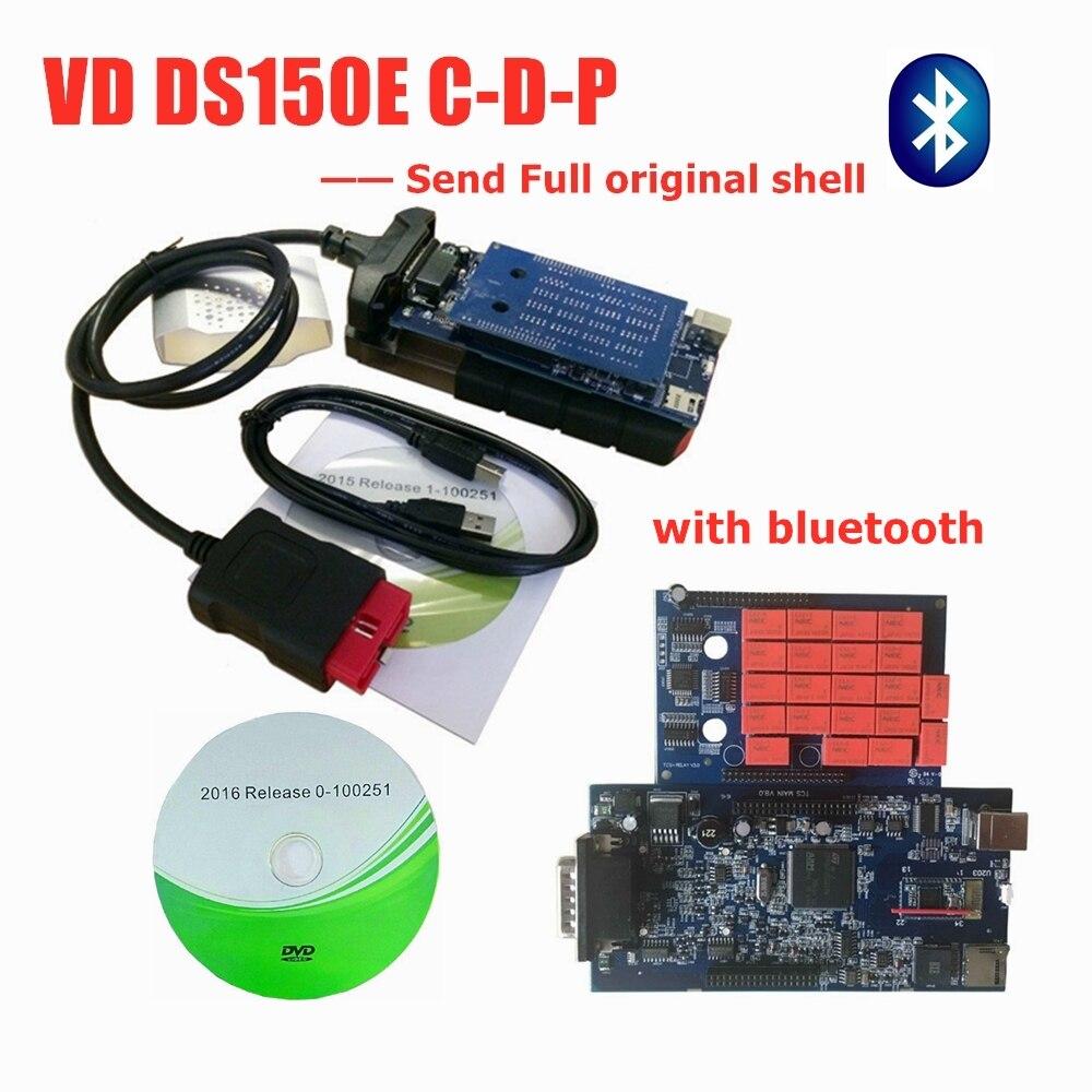 Neue form 2016R0 mit keygen für delphis obd2 diagnose werkzeug led 3in1 Scanner für autos lkw mit bluetooth + 8pc auto kabel
