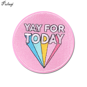 Pulaqi YAY Patch Rainbow Colored Stripe Iron-on Embroidered Patches For Clothing Applique English Letters Patch Fabric DIY Decor image