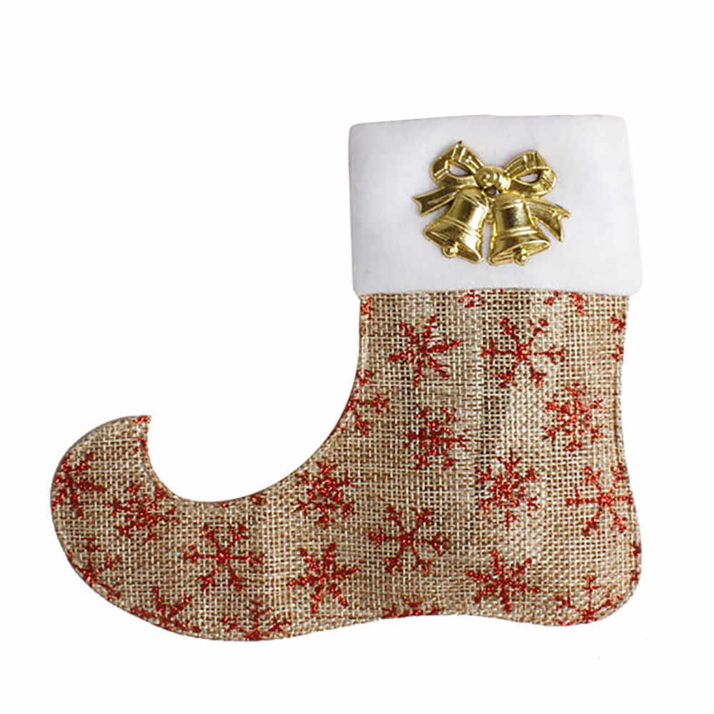 แฟชั่นรองเท้าคริสต์มาสตกแต่งต้นไม้อาหารเย็นเครื่องประดับ Candy ส้อมบนโต๊ะอาหาร Home ถุงเท้าตกแต่ง