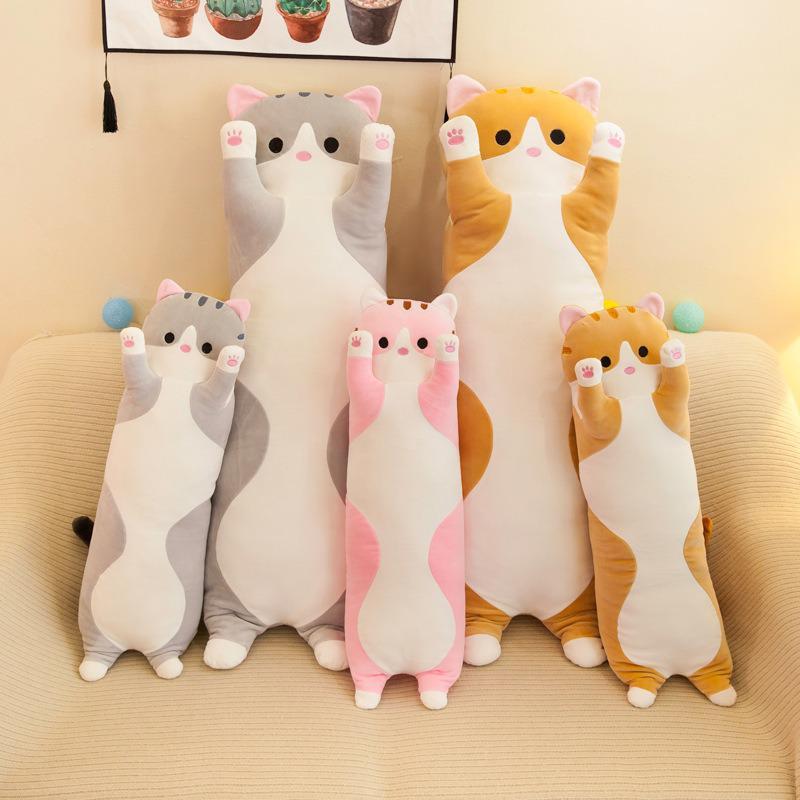 В переменного тока, 50-150 см длинный Кот детские милые плюшевые игрушки Мягкий животный принт Товары для офиса отдых, сон подушка для дома Дек...