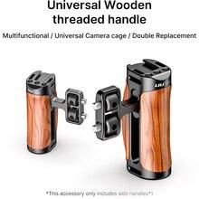 Ulanzi R075 מצלמה וידאו ידית אחיזת אוניברסלי עץ ידית עם קר נעל הר 1/4 3/8 חוט חורים עבור Sony ZV1 a6600 A6400
