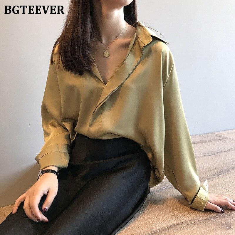 BGTEEVER Elegant Long Sleeve Satin Shirts Women Turn-down Collar Loose Female Blouses Women Tops Blusas 2020 Spring Summer