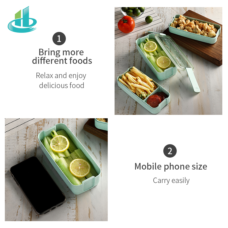 Image 4 - 900ml Portable Healthy Material Lunch Box 3 Layer Wheat Straw Bento Boxes Microwave Dinnerware Food Storage Container FoodboxLunch Boxes   -