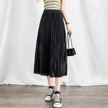 M-XL Women Fashion Pleated Skirt High Waist 2021 Summer Midi Skirts Slim Thin Casual Simple Ladies Long Skirt New Arrival
