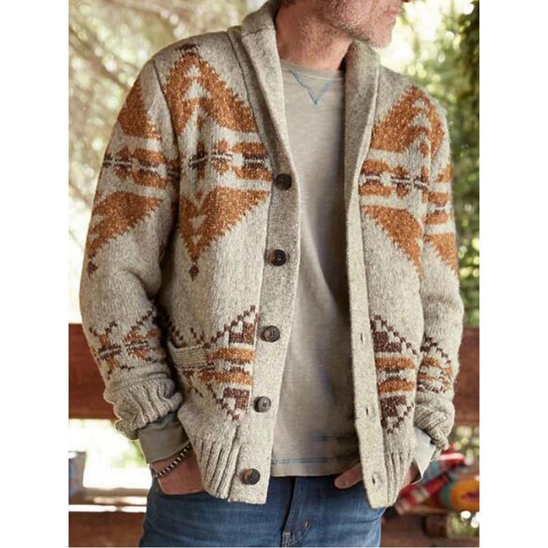 Jacquard Sweater Mens 2020 Autumn Winter Geometric Mens Cardigan Casual Camel Hair Ribbed Hem Men Outwear Oversized Warm Jacket
