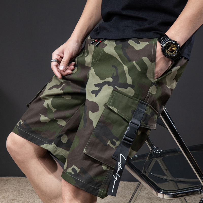 2021 summer straight loose camouflage shorts classic style elastic waist drawstring young men casual plus size casual shorts