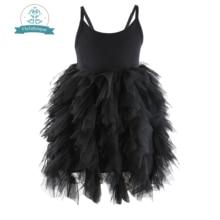 Flofallzique Zwarte Baby Meisje Jurk Mouwloze Kinderen Kleding Wedding Party Prinses Tutu Sjerpen Japon Voor Kinderen 1 8Year