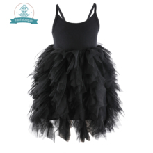 Flofallzique black baby girl dress sleeveless kids clothes wedding party princess tutu sashes frock for children 1-8Year