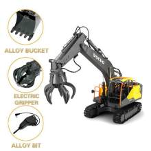 2.4G 3in1 Alloy RC Excavator 1:16 Alloy 17ch Big RC Trucks Simulation Excavator Remote Control 3-Type Engineer Vehicle Toys E568