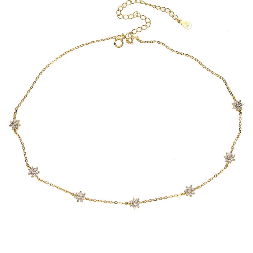 Top sale delicate four star lucky girl shiny cz charm fine 925 sterling silver choker chain necklace for women fashion jewelry