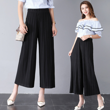 2019 New Summer womens Wide leg pants Chiffon Thin Pleasted Printed Floral high waist trourses plus size XL-4XL