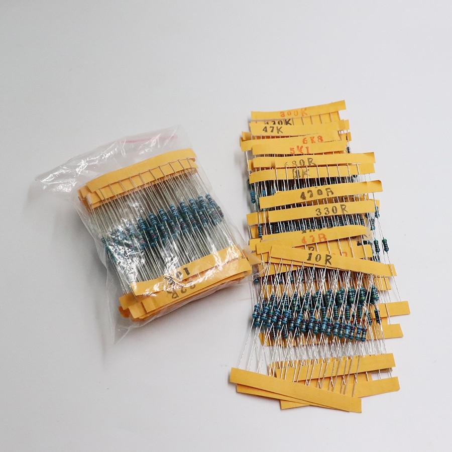 300Pcs 10 -1M Ohm 1/4w Resistance 1% Metal Film Resistor  Assortment Kit Set 30Kinds*10pcs=300PCS Free Shipping