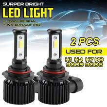 1 пара светодиодный фар автомобиля h1/h4/h7/h11/h13 6000k 5000lm