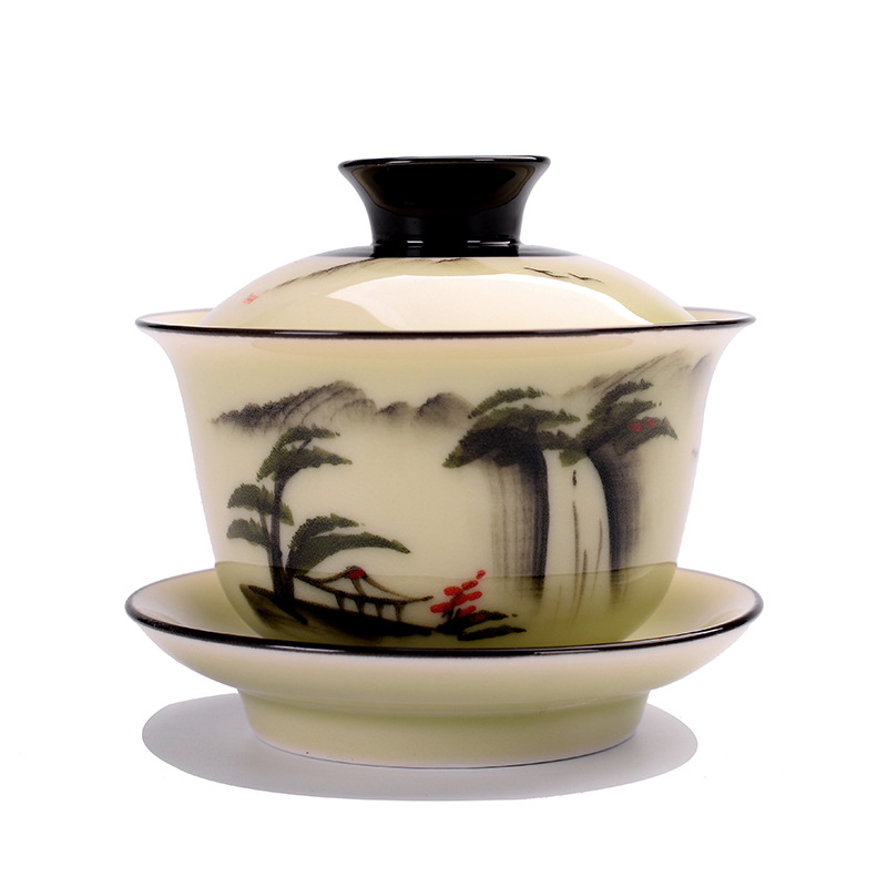 150ml Creative Chinese Landscape Painting Gaiwan Tea Set Ceramic Teaware Sets Tea Set Teapot Teaset Tea Cups Of Tea Ceremony