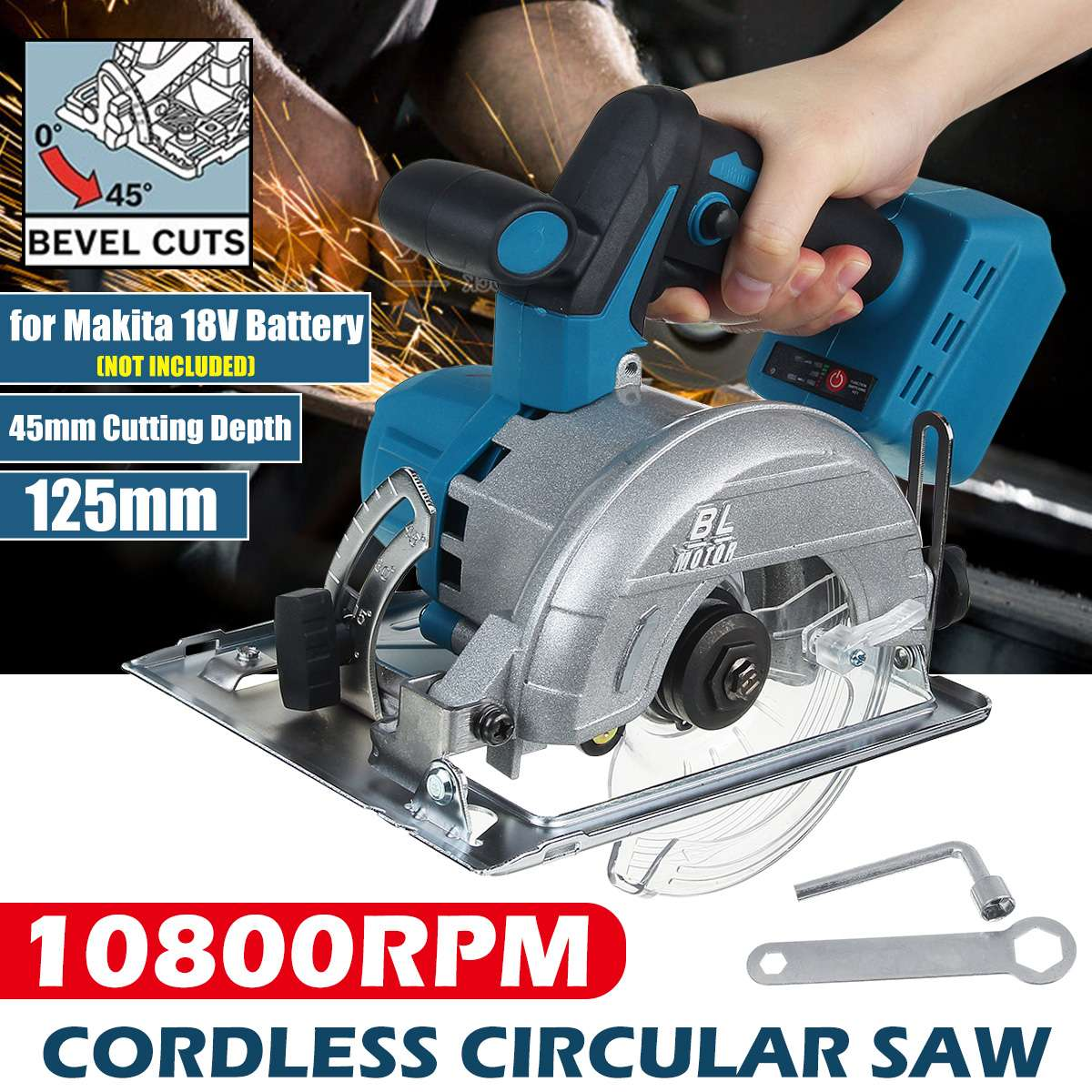 Wood Machine Power For Passage Multifunction Battery 10800RPM Saw 18V Makita Electric Cutting Dust Tools 125mm Cordless Circular