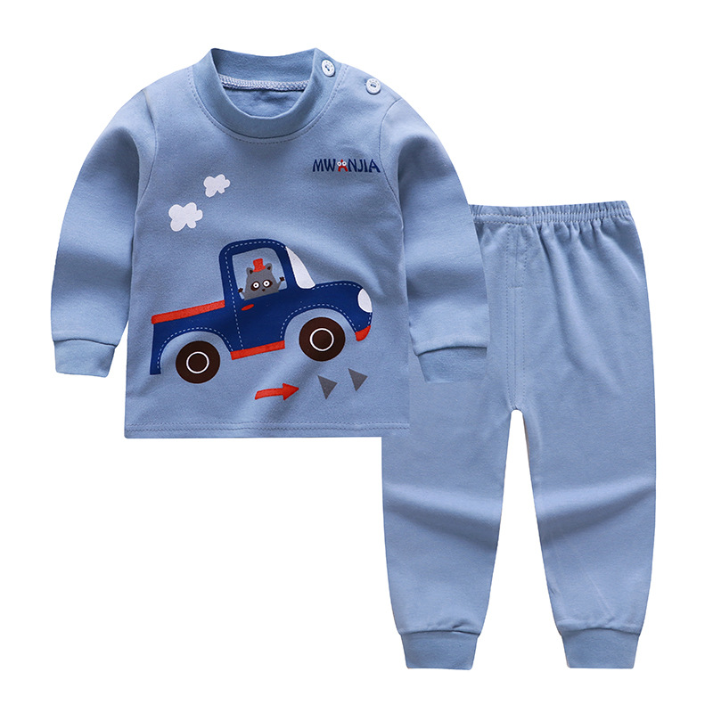 2020 New Style Baby Boys Clothes Children's Suit O-neck Cartoon Pattern Pure Cotton Pajama Home Comfortable For Kids Cute Boys