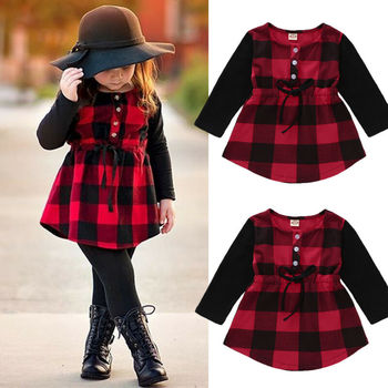 Fashion Retro Toddler Girl Dress Long Sleeve Red Plaid Outdoor Casual Kid Baby