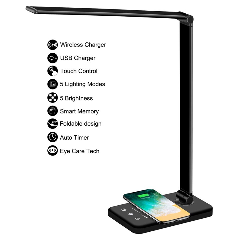 Multifunctional LED Desk Lamp with Wireless Charger, USB Charging Port, 5 Lighting Modes,5 Brightness Levels, Sensitive Control,