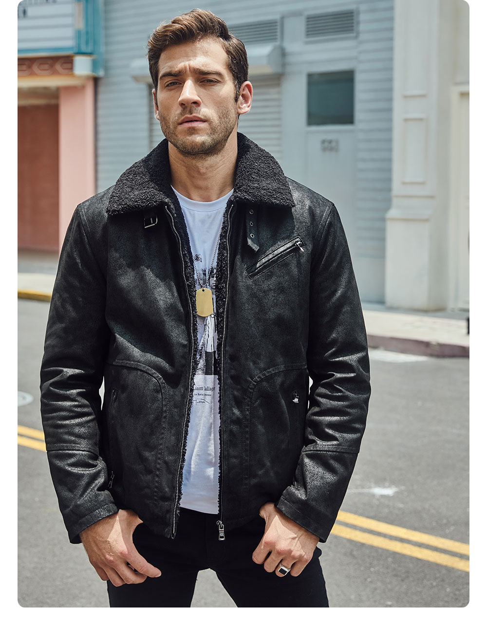 H16a09d7fe33c4cb1bd78c943a5c2e457R FLAVOR New Men's Genuine Leather Motorcycle Jacket Pigskin with Faux Shearling Real Leather Jacket Bomber Coat Men