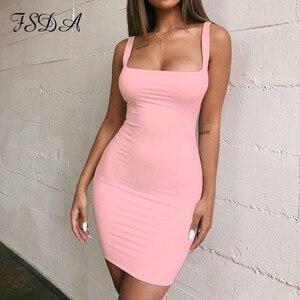 FSDA Square Neck Sleeveless Bodycon Mini Kleid Grundlegende Frauen Sommer Schwarz Backless Partei Sexy Gelb Clubwear 2020 Kleider