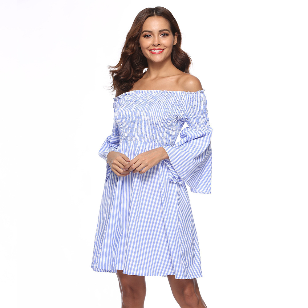 Sexy Off Shoulder Party Mini Dresses Elegant Vintage Stripe Lantern Long Sleeve Summer Holiday Style Beach Boho Dress Vestidos