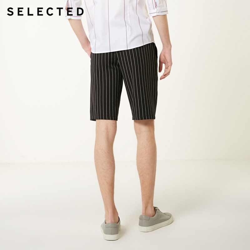 Geselecteerd Mannen Zomer Verticale Strepen Straight Fit Zwart Shorts S | 4192SH529