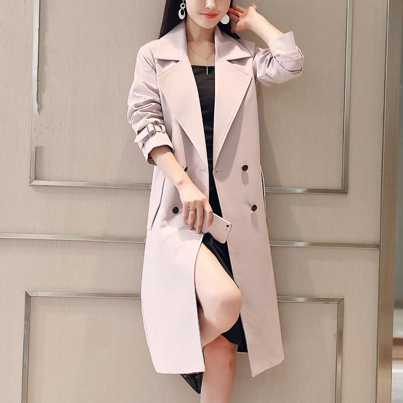 4XL Long   Trench   Coat Women Casual Vintage Long Sleeve   Trench   Coat Female Elegant Plus Size Windbreaker Women   Trench   Coat Q1823
