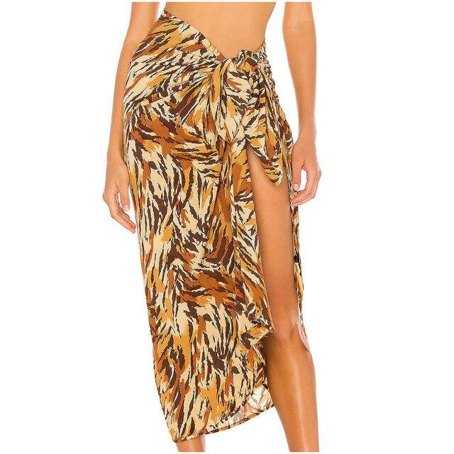 Women Swimsuit Cover Up Printed Mesh Bikini Swimwear Beach Cover-ups Beach Dress Wrap Skirt Парео Для Пляжа 4