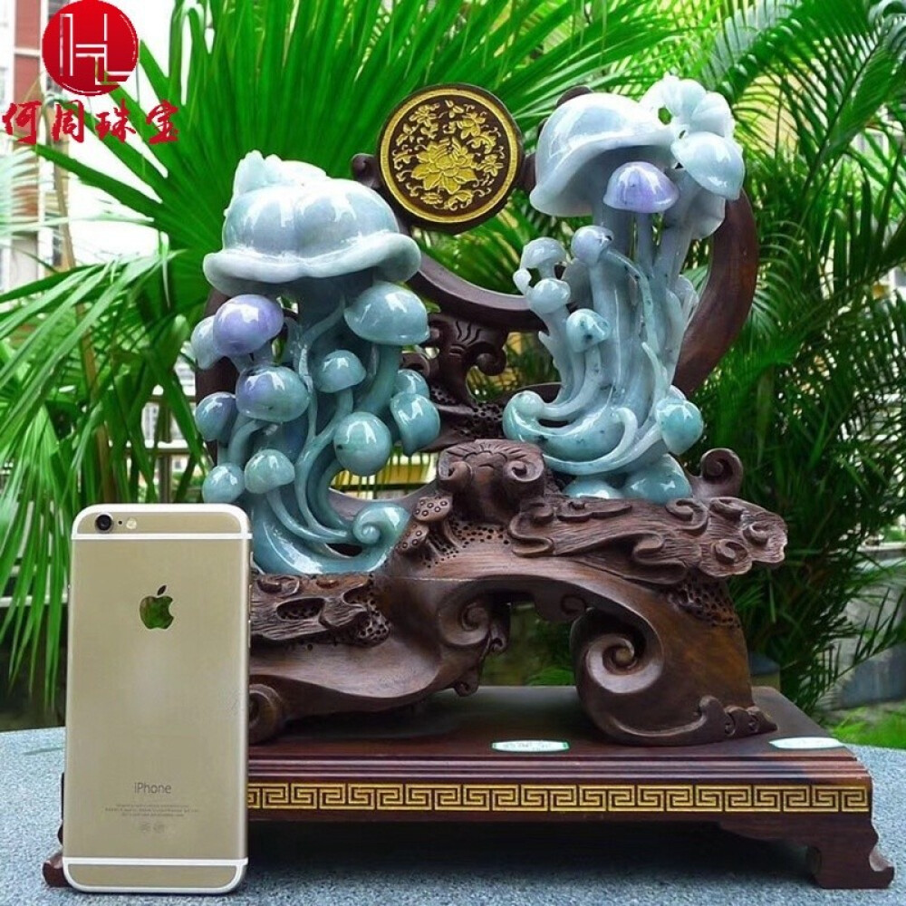Hezhou jewelry!Myanmar natural jade!Ruyi carving decoration!Living room desk accessories!4.36jins 1