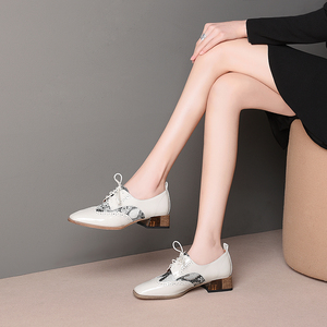 Image 4 - Women summer leather shoes woman brogue lady flats shoes vintage sneakers laces spring casual shoes for women 2020