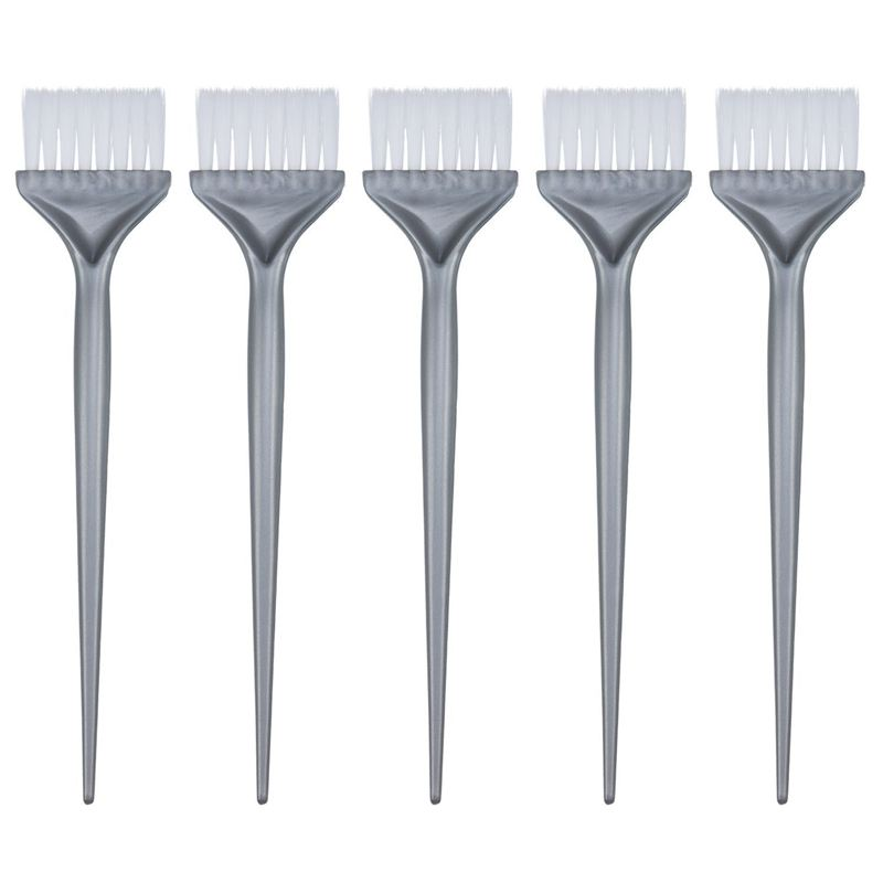 5 Pack Hair Dye Coloring Brushes Hair Coloring Dyeing Kit Handle Salon Hair Bleach Tinting DIY Tool, Silver Grey