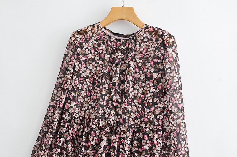 Floral Print Pleated Long Sleeve O Neck Loose Boho Dress 3