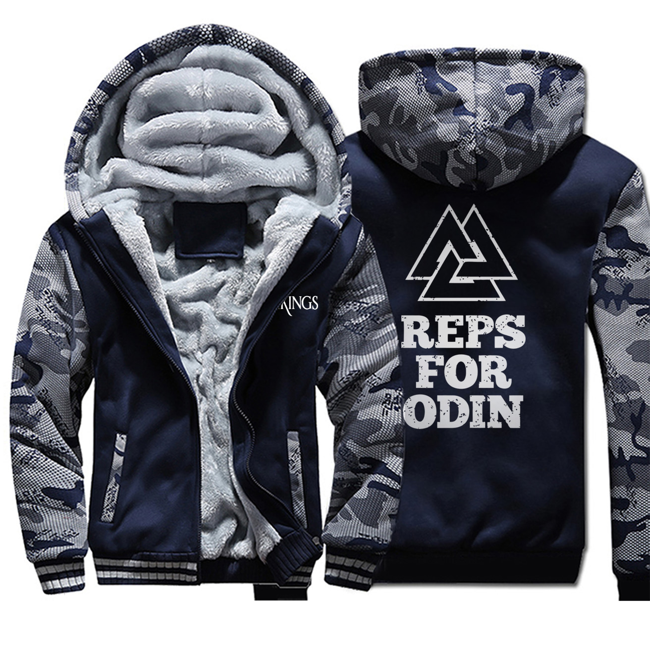 Vikings Jackets Men Reps For Odin Hoodies Valhalla Sweatshirt Winter Thick Feece Zipper Coats Sons Of Anarchy Camouflage Outwear