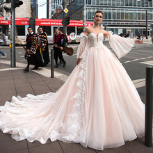 SoDigne Ball Gown Wedding Dresses Lace Appliques  Pink Boho Bridal Dress Tulle Bridal Gown Plus Size Court Train Custom Made lovely tulle ball gown wedding dress 2019 new sweetheart lace appliques off shoulder court train princess church bridal dresses