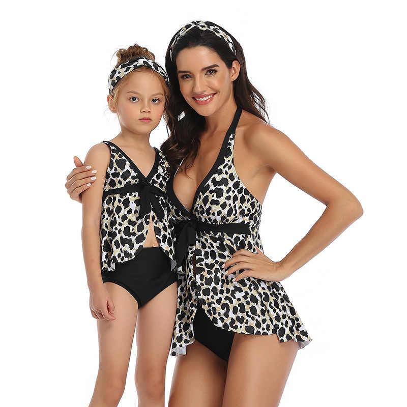 Knoten Strap Druck Eltern-kind Biquine Anzug Vintage Retro Badeanzug Druck Biknis Mutter Und Kinder Badeanzug