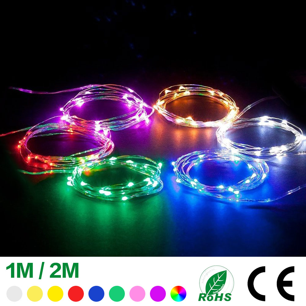 2M 20LEDs Button Battery Powered Bottle Copper Wire Lights Halloween Lights String Christmas Lights