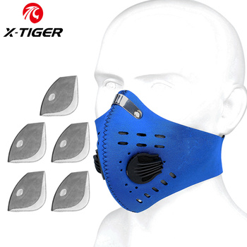 X-TIGER Cycling Face Mask PM 2.5 Bike Mask Activated Carbon Breathing Valve Sports Masks With Anti-Pollution Filter 25