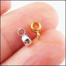 200 pçs retro tibetano prata tom cor do ouro minúsculo redondo talão bail encantos conectores 4x7mm