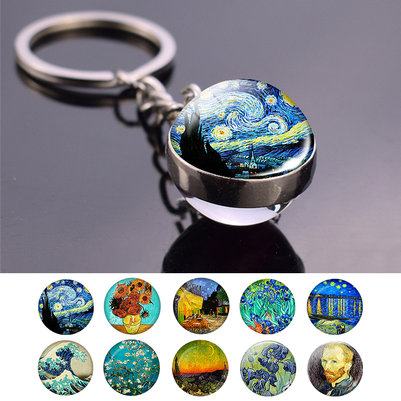 Vintage Van Gogh Oil Painting Keychain Keyring Van Gogh Glass Ball Pendant Car Key Chain Holder Men Fashion Jewelry Accessories