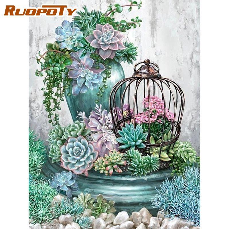 Ruopoty emoldurado flor pintura por números para adultos kits de tintas a óleo decoração para casa artcraft pintado à mão diy presente pintura digital
