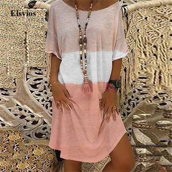 2020 Summer Casual Women Loose Print A-Line Dress Sexy Off Shoulder Party Dress Elegant Ladies Plus Size Knitted Dress Vestidos 1