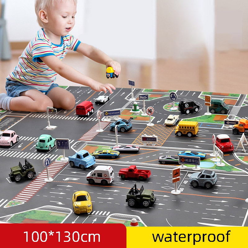 NEW Waterproof Non-woven <font><b>130*100CM</b></font> Large City Traffic Car Park Play Mat Kids Playmat Pull Back Car Toys for Children's Mat image