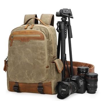 YUPINXUAN Dropshipping Waterproof DSLR Backpacks Canvas Leather Camera Rucksacks Vintage Travel Daypacks Multifunction Mochila