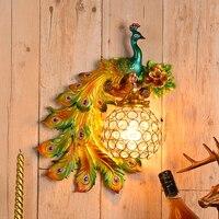 Nordic luxo lâmpadas de parede cristal bohemia pavão retro luzes de parede lâmpada cabeceira barra decoração dando blubs led espelho luminárias