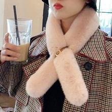 Women's Luxury Faux Fur Scarf Collar Winter Fluffy Warm Solid Color Neck Wrap Decorated With Leather Band Auckle