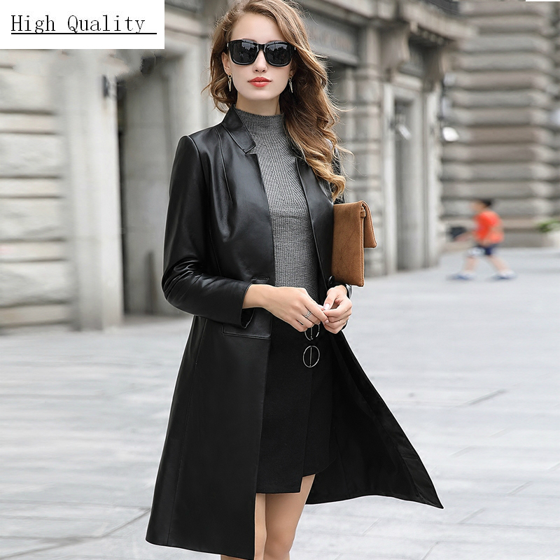 Spring Real Sheepskin Coat Female Genuine Leather Jacket Women Montone Jacket Long Trench Coat Autumn Clothes LWL1485