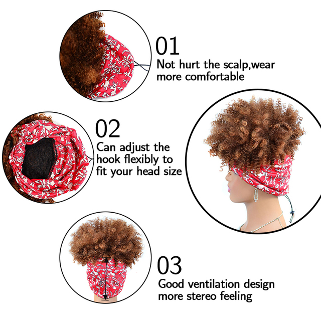 Headband Wigs for Black Women 10 Inch Afro Kinky Curly Wrap Wig High Temperature Synthetic Fiber Deep Curly Hair Wigs with Scarf