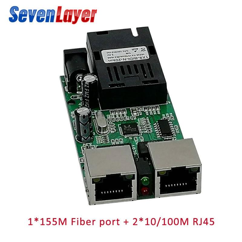 10/100M Switch 2 RJ45 1 SC Media Converter 20KM Mini Fiber Optical Ethernet  Single Mode Fiber PCB Board
